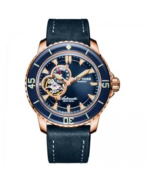 极光 海狼 精钢 夜光 蓝色表盘 蓝色牛皮表带 时尚男士腕表 RGA3039-PLL-