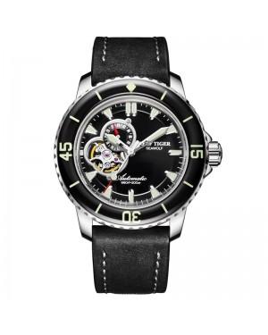 极光 海狼 精钢 夜光 蓝色表盘 黑色牛皮表带 时尚男士腕表 RGA3039-YBB-