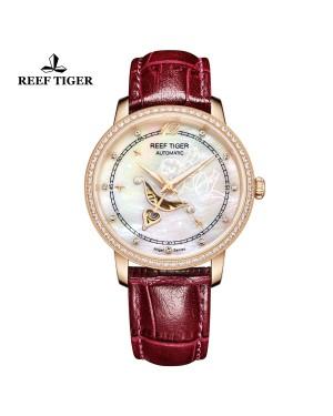 爱之心 天使 玫瑰金 贝壳母表盘 红色皮带 镶钻时尚女表 RGA1550-PWSD