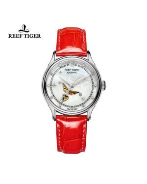 爱之心 天使 精钢 贝壳母表盘 红色漆皮皮带 时尚女表 RGA1550-YWR