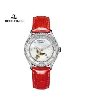 爱之心 天使 精钢 贝壳母表盘 红色漆皮皮带 镶钻时尚女表 RGA1550-YWRD
