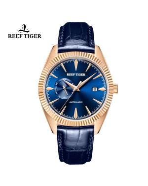 西雅图 猎户座 玫瑰金 时尚男表 蓝色表盘 防水丝滑真皮表带 RGA1616-PLL