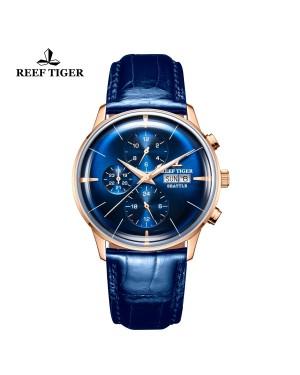西雅图 酋长 玫瑰金 时尚男表 蓝色表盘 防水丝滑真皮表带  RGA1699-PLL