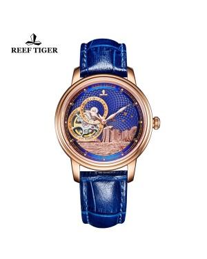 西雅图 新加坡 玫瑰金 蓝色表盘 蓝色防水丝滑真皮表带 时尚男表 RGA1739-PLL