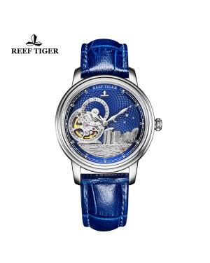 西雅图 新加坡 精钢 蓝色表盘 蓝色防水丝滑真皮表带 时尚男表 RGA1739-YLL