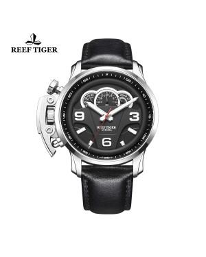 极光 拉力赛 S2 精钢 黑色表盘 真皮皮带 运动男士腕表 RGA2105-YBB