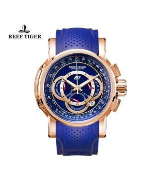 极光 极速 玫瑰金蓝面 赛车表 运动男士腕表 RGA3063-PLL