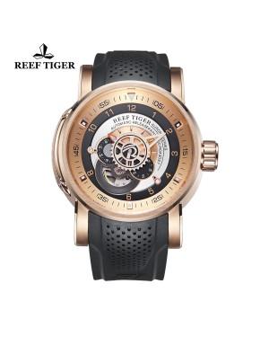 极光 机械师 玫瑰金 黑/白色表盘 时尚休闲表 运动男士腕表 RGA30S7-PPB