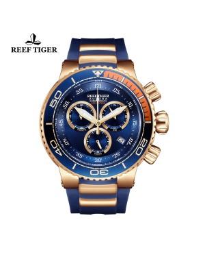 极光 大洋 玫瑰金  蓝色大表盘 运动计时男表 RGA3168-PLL