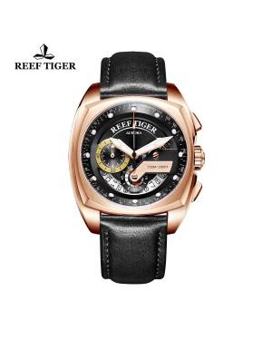 极光 方程式比赛 玫瑰金 黑色表盘 黑色真皮表带 时尚男士腕表 RGA3363-PBB