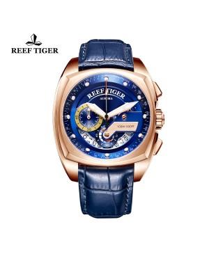 极光 方程式比赛 玫瑰金 蓝色表盘 蓝色真皮表带 时尚男士腕表 RGA3363-PLL