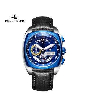 极光 方程式比赛 精钢表壳 蓝色表盘 黑色真皮表带 时尚男士腕表 RGA3363-YLB
