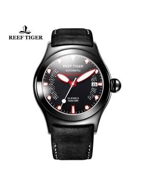 极光 海洋 PVD 红色刻度 黑色/棕色皮带 男士手表 RGA704-BBBR
