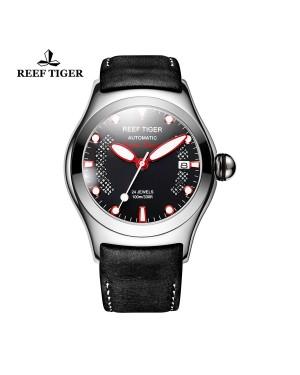 极光 海洋 精钢 黑色字面 红色刻度 棕色皮带表 RGA704-YBBR