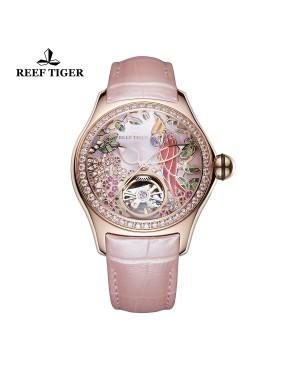 极光 鹦鹉 玫瑰金钻石表壳 粉色表盘 粉色真皮表带 时尚女士腕表 RGA7105-PPPD