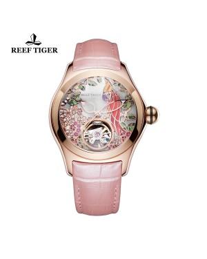 极光 鹦鹉 玫瑰金 白色表盘 粉色真皮表带 时尚女士腕表 RGA7105-PSP