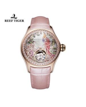 极光 鹦鹉 玫瑰金钻石表壳 白色表盘 粉色真皮表带 时尚女士腕表 RGA7105-PSPD