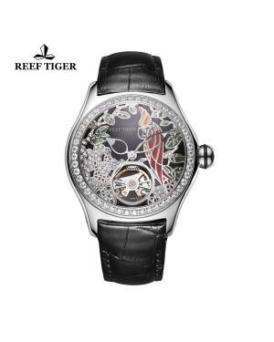 极光 鹦鹉 精钢钻石表壳 黑色表盘 黑色真皮表带 时尚男士腕表 RGA7105-YBBD