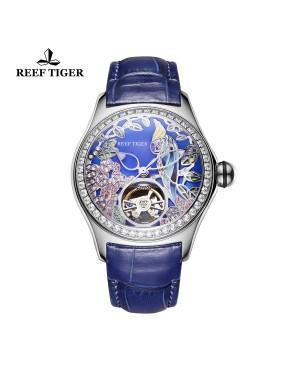 极光 鹦鹉 精钢钻石表壳 蓝色表盘 蓝色真皮表带 时尚男士腕表 RGA7105-YLLD