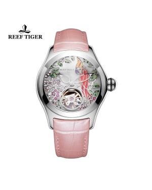 极光 鹦鹉 精钢表壳 白色表盘 粉色真皮表带 时尚女士腕表 RGA7105-YSP