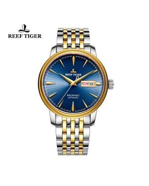 经典 预言家 黄金表壳 蓝色表盘 商务休闲腕表 男士自动手表 RGA8236-GLT