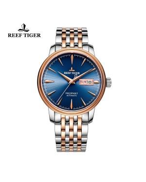 经典 预言家 玫瑰金表壳 蓝色表盘 时尚休闲表 男士自动腕表 RGA8236-PLT
