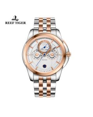 经典 时光行者 玫瑰金表圈 双色表带 白盘 男士高端手表 RGA830-PWT