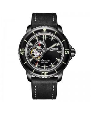 极光 海狼 精钢 夜光 蓝色表盘 黑色牛皮表带 时尚男士腕表 RGA3039-BBB-
