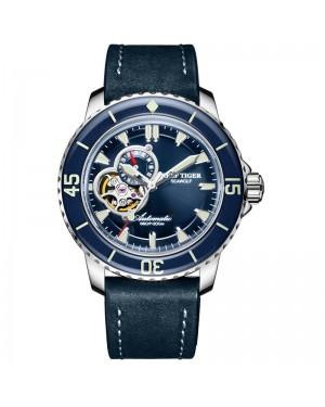 极光 海狼 精钢 夜光 蓝色表盘 蓝色牛皮表带 时尚男士腕表 RGA3039-YLL-
