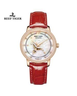 爱之心 天使 玫瑰金 贝壳母表盘 红色漆皮皮带 镶钻时尚女表 RGA1550-PWRD