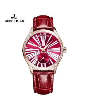 爱之心 名媛 玫瑰金钻石表壳 红色表盘 真皮皮带 自动机芯女表 RGA1561-PRR