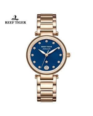 瑞夫泰格 北极星 玫瑰金表壳 蓝色表盘 玫瑰金表带 自动机芯女表 RGA1590-PLP