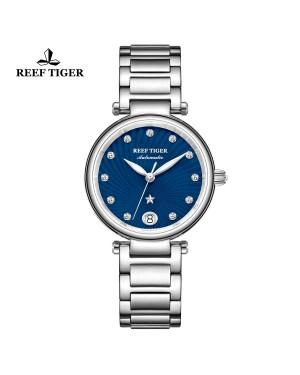 瑞夫泰格 北极星 精钢表壳 蓝色表盘 精钢表带 自动机芯女表 RGA1590-YLY