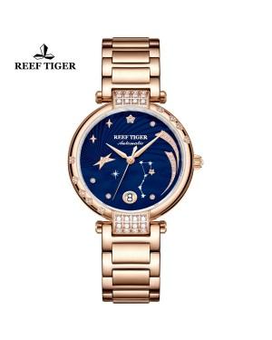 瑞夫泰格 手表 女机械表全自动女士时尚简约 浪漫爱情 钢带防水新款-love星系RGA1592-PLP
