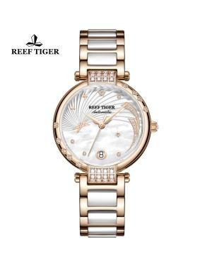 瑞夫泰格 手表 女机械表全自动女士时尚简约 浪漫爱情 钢带防水新款-love星系RGA1592-PWT