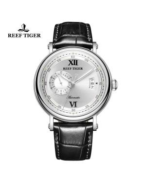 西雅图 Sander 精钢 白色表盘 黑色防水丝滑真皮表带 时尚男表 RGA1617-2-YWB