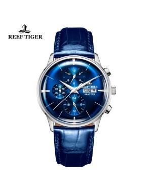 西雅图 酋长 精钢 时尚男表 蓝色表盘 防水丝滑真皮表带 RGA1699-YLL