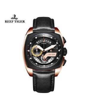 极光 方程式比赛 玫瑰金/PVD 黑色表盘 黑色真皮表带 时尚男士腕表 RGA3363-PBBB