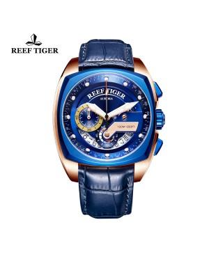 极光 方程式比赛 玫瑰金 蓝色表盘 蓝色真皮表带 时尚男士腕表 RGA3363-PLLL