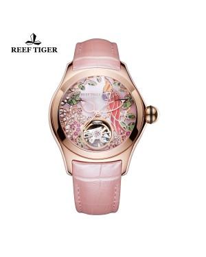 极光 鹦鹉 玫瑰金 粉色表盘 粉色真皮表带 时尚女士腕表 RGA7105-PPP