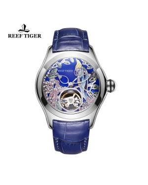 极光 鹦鹉 精钢表壳 蓝色表盘 蓝色真皮表带 时尚男士腕表 RGA7105-YLL