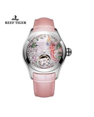 极光 鹦鹉 精钢表壳 粉色表盘 粉色真皮表带 时尚女士腕表 RGA7105-YPP