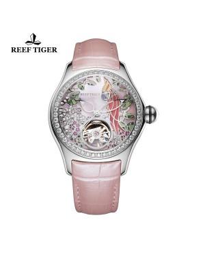 极光 鹦鹉 精钢钻石表壳 粉色表盘 粉色真皮表带 时尚女士腕表 RGA7105-YPPD