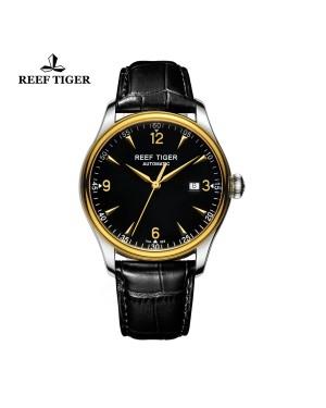 经典 传世 黄金表圈 真皮表带 黑色表盘 男士腕表  RGA823-TBB