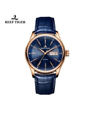 经典 传世 II 玫瑰金 蓝色表盘 牛皮表带 男士腕表 RGA8232-PLL