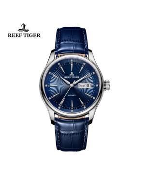 经典 传世 II 精钢 蓝色表盘 牛皮表带 男士腕表 RGA8232-YLL