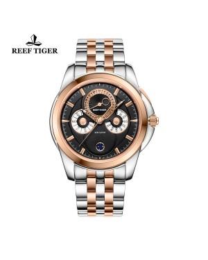 经典 时光行者 玫瑰金表圈 双色表带 黑盘 男士高端手表 RGA830-PBT