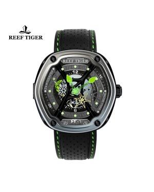 极光 盖亚光芒 绿针皮带 超级夜光镂空腕表 RGA90S7-TSBL